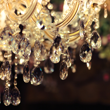 Closeup of antique crystal chandelier