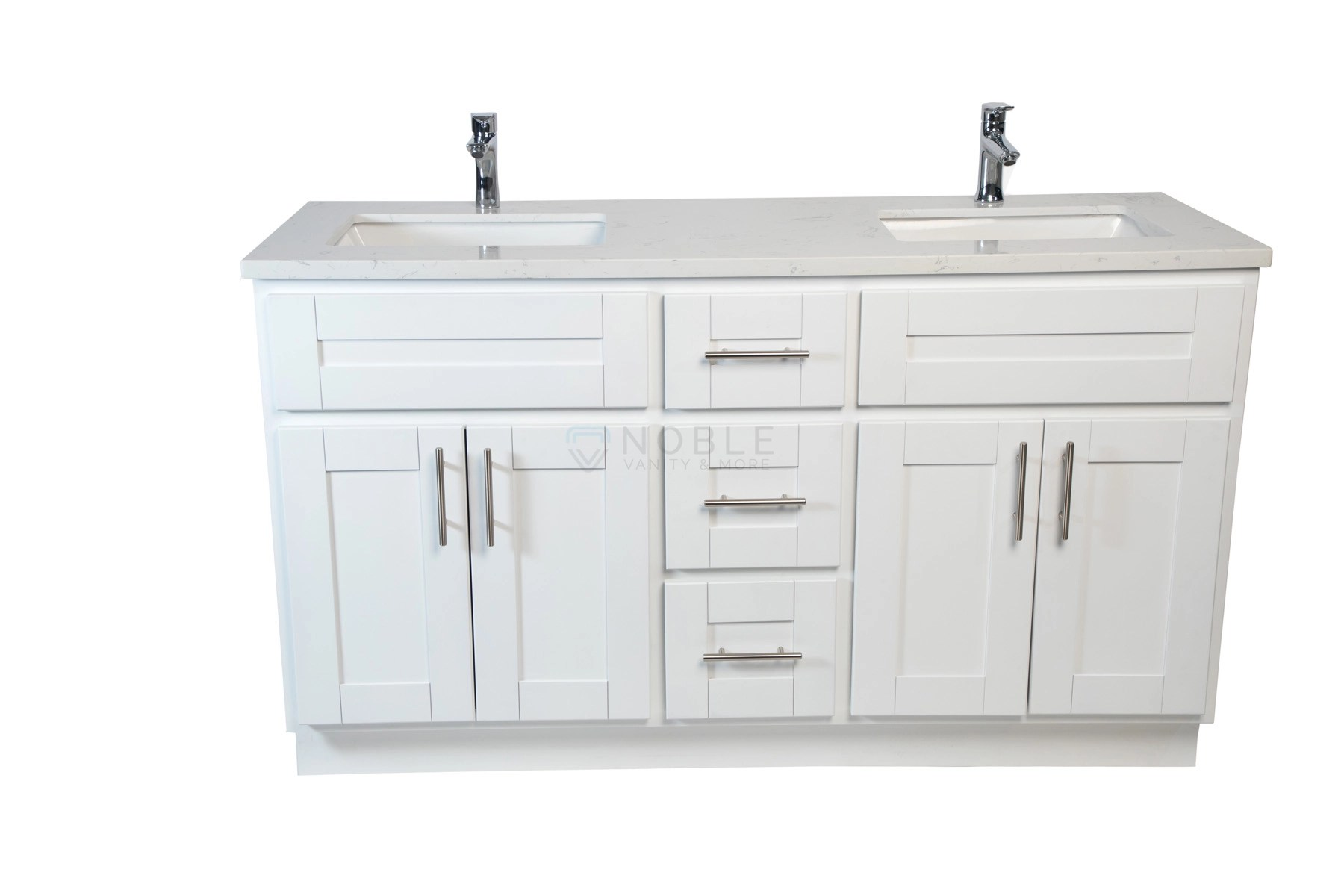 Ghazania Collection: White 60-inch Double Sink Vanity
