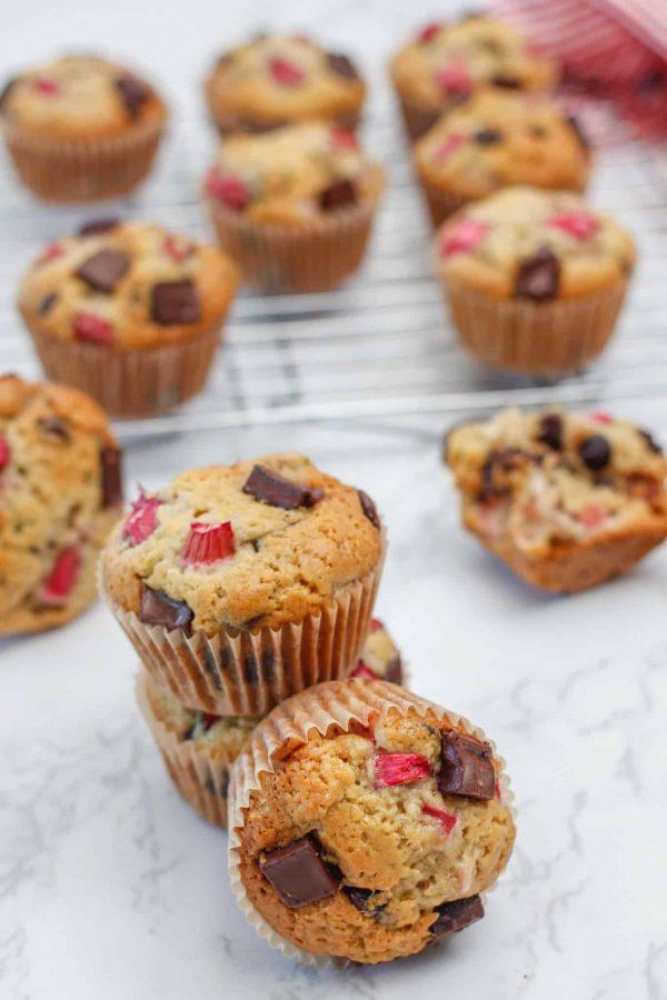 Muffins à la Rhubarbe et Chocolate