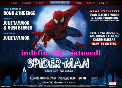 spider-man musical hiatus