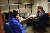 Catherine and Britney in our office at McMurdo
