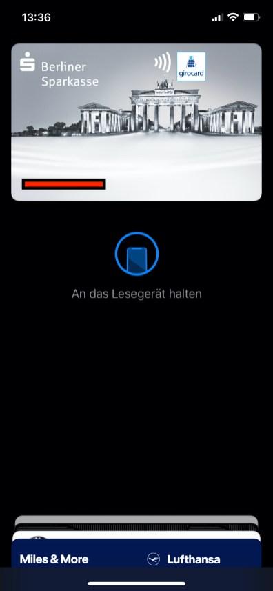 Betriebsbereite girocard in Apple Wallet