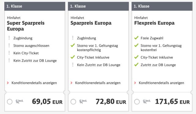 Preise für Verbindung Köln-Malmö mit BahnCard