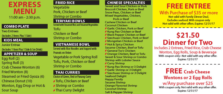 Asian Grill Express Restaurant Coupons Fort Collins