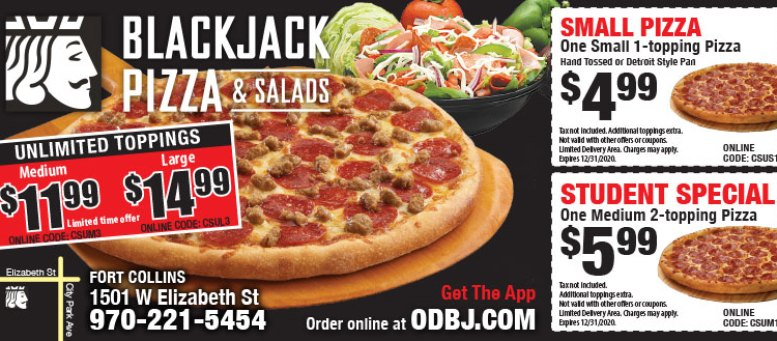Blackjack Pizza & Salads Student Specials Coupons Fort Collins