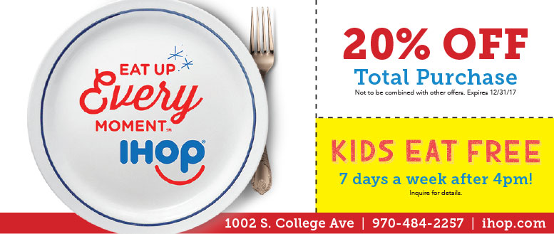 IHOP Coupons Fort Collins - Kids Eat Free After 4pm