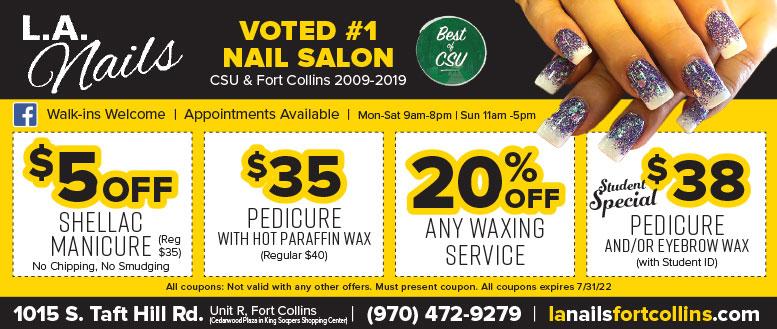 LA Nails Salon Waxing Coupons