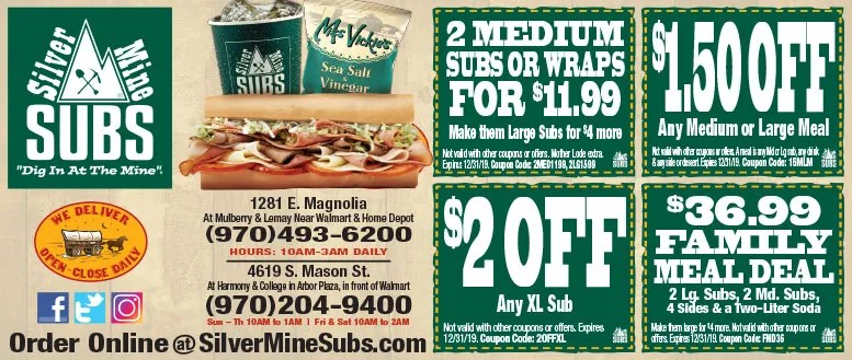 Silvermine Subs Coupons Fort Collins