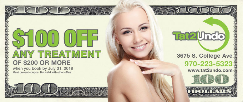 Tat2Undo Fort Collins - $100 Off Any Treatment Coupon