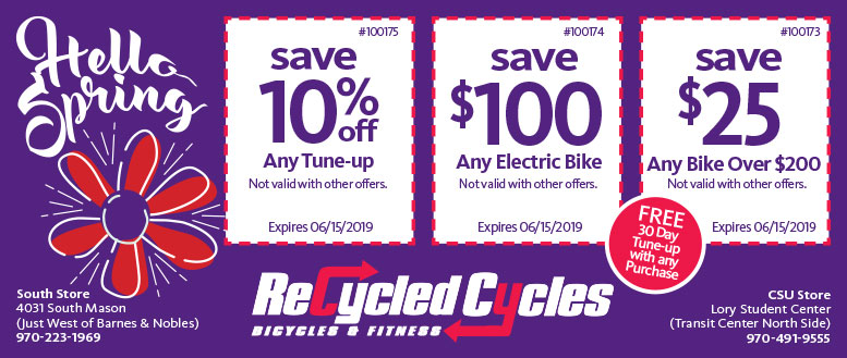 Recycled Cycles Bicycles & Fitness Coupon Deals in Fort Collins