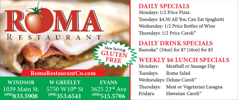 Roma Restaurant Pizza Specials for Windsor, Greeley & Evans, CO