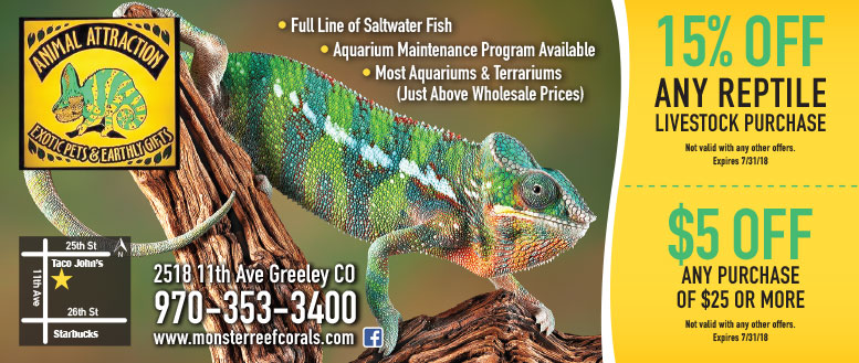 Animal Attraction Aquatics & Reptiles Coupons - $5 Off or 15% Off Any Reptile Livestock Purchase