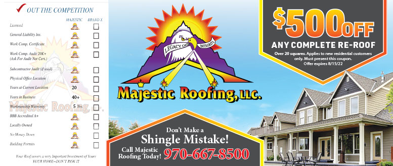 Majestic Roofing Repair in Fort Collins - $500 Off Any Complete Re-Roof