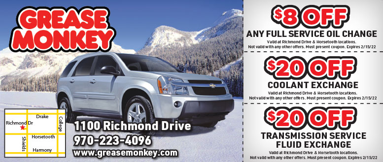Grease Monkey Fort Collins Oil Change & Transmission Service Coupons