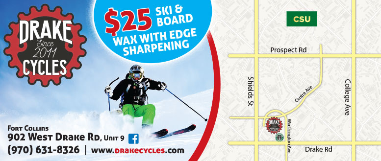 Drake Cycles in Fort Collins | $25 Ski or Board Wax & Edge Sharpening Coupon Deal