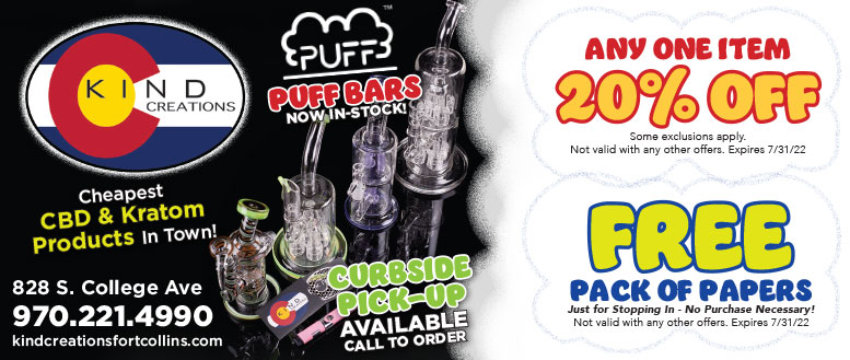 Kind Creations Smoke Shop Coupons in Fort Collins - $5 Off Purchase or 20% Off One Item
