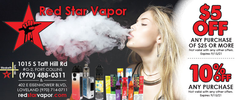 Red Star Vapor, Fort Collins - $5 Off or 10% Off Coupon Deals