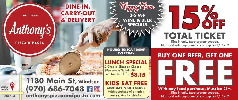 Anthony's Pizza & Pasta, Windsor - 15% Off & BOGO Beer Coupon Deals