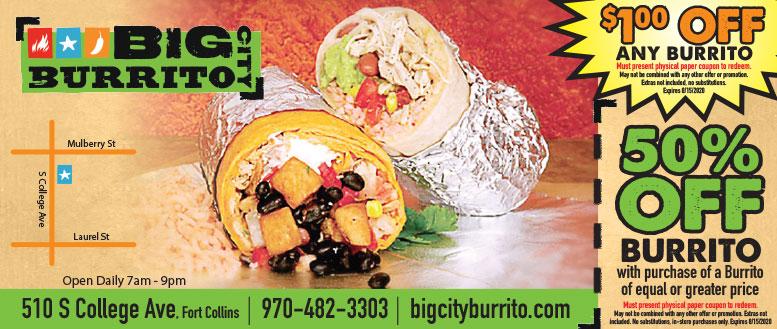 Big City Burrito, Fort Collins Coupon Deals