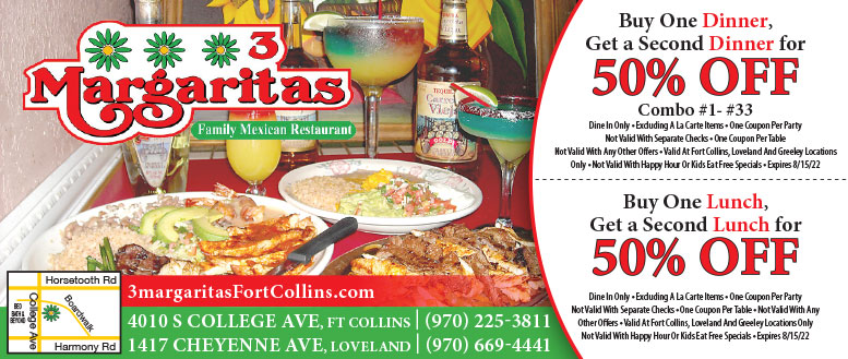 3 Margaritas Mexican Restaurant, Fort Collins - Lunch & Dinner Coupon Deals