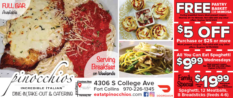 Pinocchios Incredible Italian, Fort Collins - Breakfast, Lunch & Dinner Coupon Deals