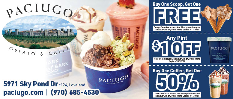 Paciugo Gelato & Caffe Coupon Deals in Loveland, CO
