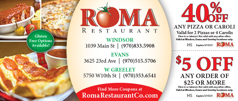 Roma Restaurant Coupon Deals in Windsor, Evans, Greeley of NoCo