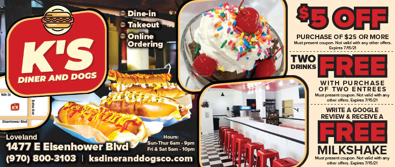 K's Diner and Dogs Coupon Deals in Loveland, NoCo