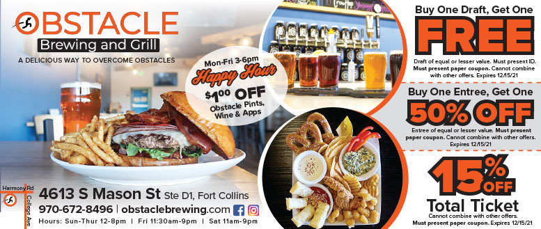 Obstacle Brewing and Grill Coupon Deals in Fort Collins, NoCo