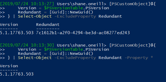 -ExcludeProperty in PowerShell Core