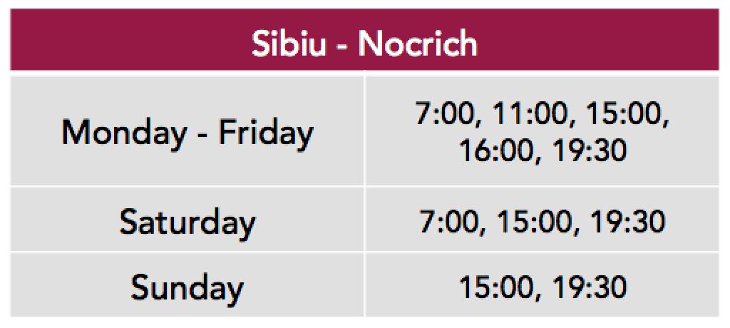 Nocrich Sibiu Time Table
