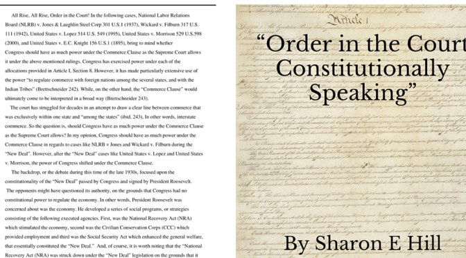 #LiteraryArts : Check Out 'Order In The Court' Constitutionally Speaking* by American Author, Sharon Elaine #NoCriticsJustArtists