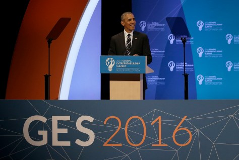 President Barack Obama speaks at the Global Entrepreneurship Summit in Stanford, Calif., Friday, June 24, 2016. (AP Photo/Jeff Chiu)