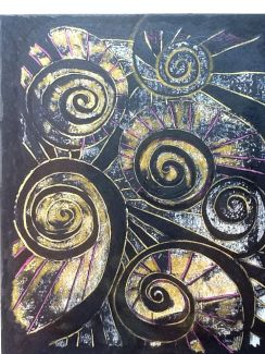 Spirals - black and gold