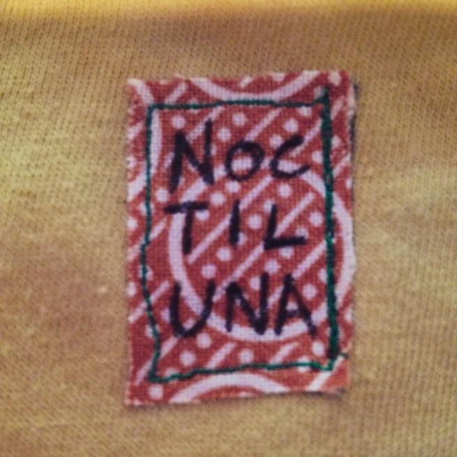 Freshly sewn label.