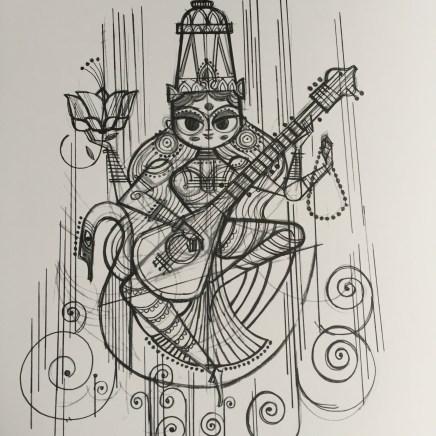 Sketch for Saraswati