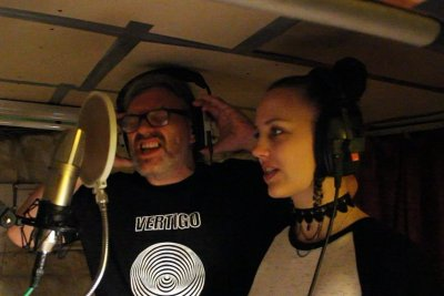 "Marty Willson-Piper with his wife Olivia, recording ""Head On""."