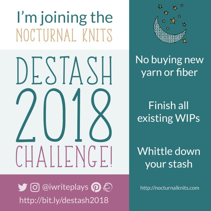 Nocturnal Knits Destash 2018 Challenge