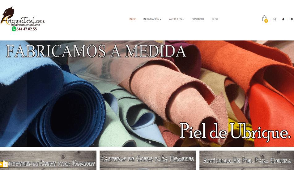 """Tienda Online creada con Prestashop para """"Artesano Total"""" de Ubrique, Cádiz."""