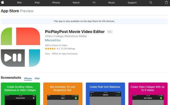 Editor de vídeo PicPlayPost-Movie