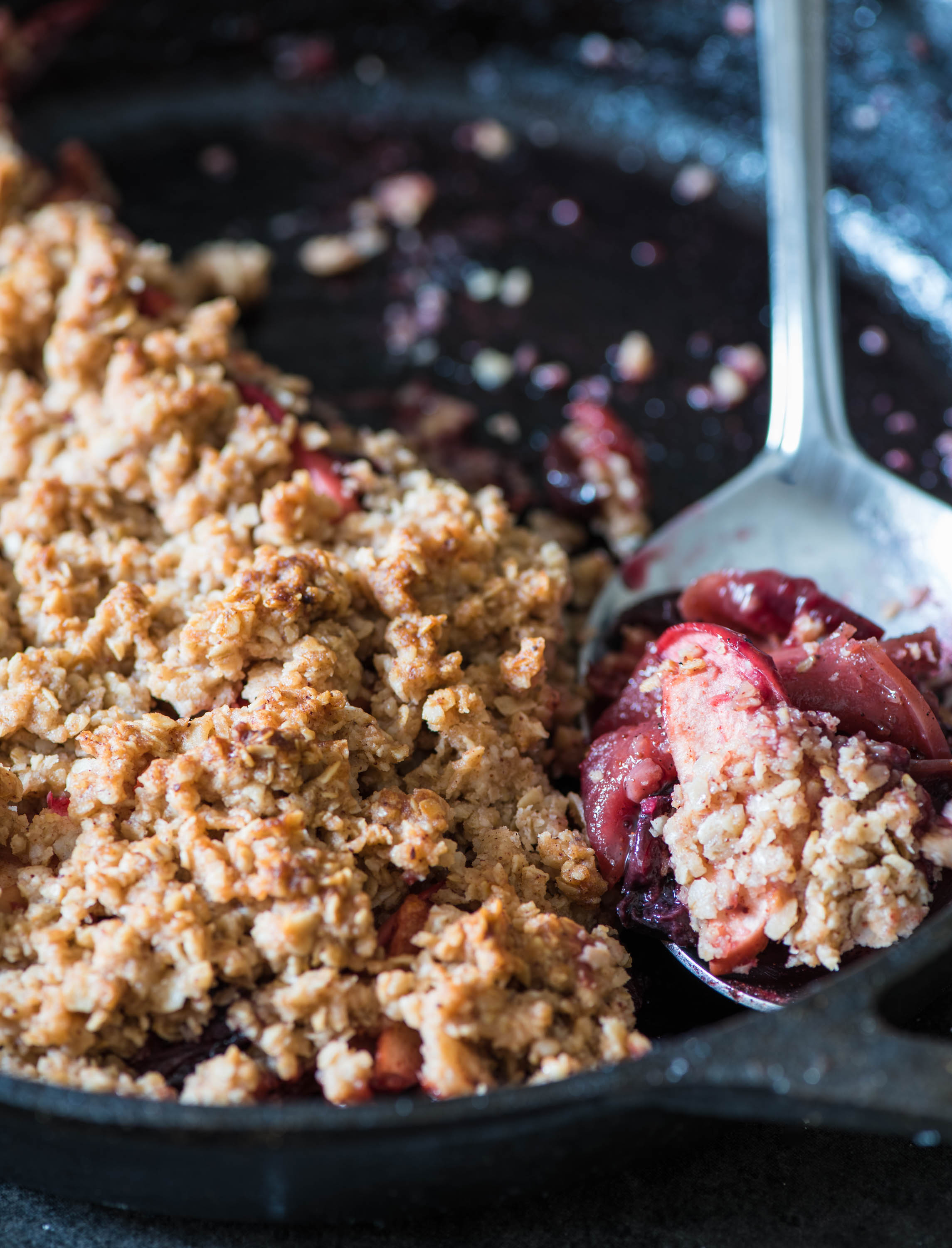 Skillet Apple and Cherry Maple Crumble
