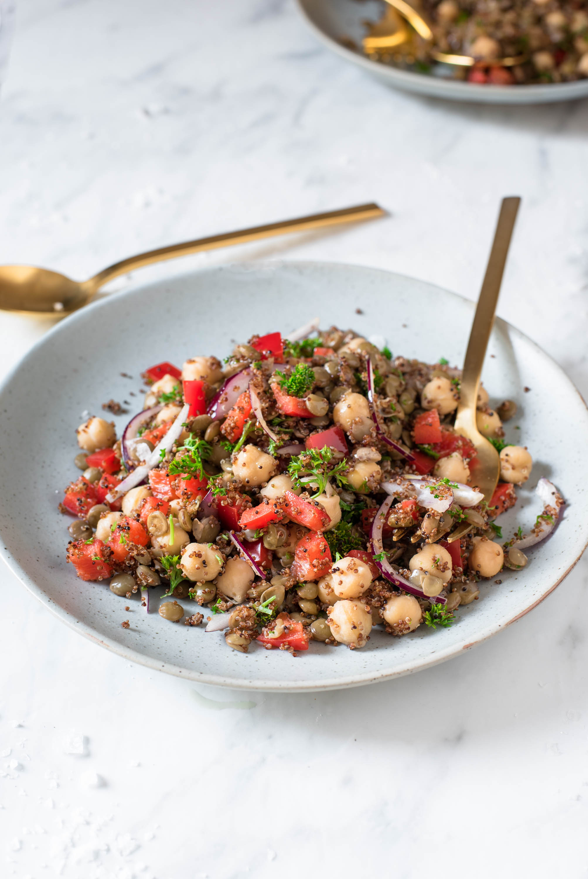 45 degree angle of a colorful, super healthy and quick 5-minute lentil chickpea salad