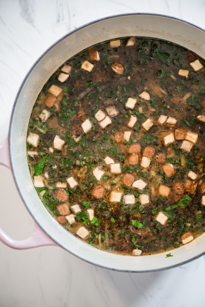 pot of hot Mushroom Kale Miso Soup
