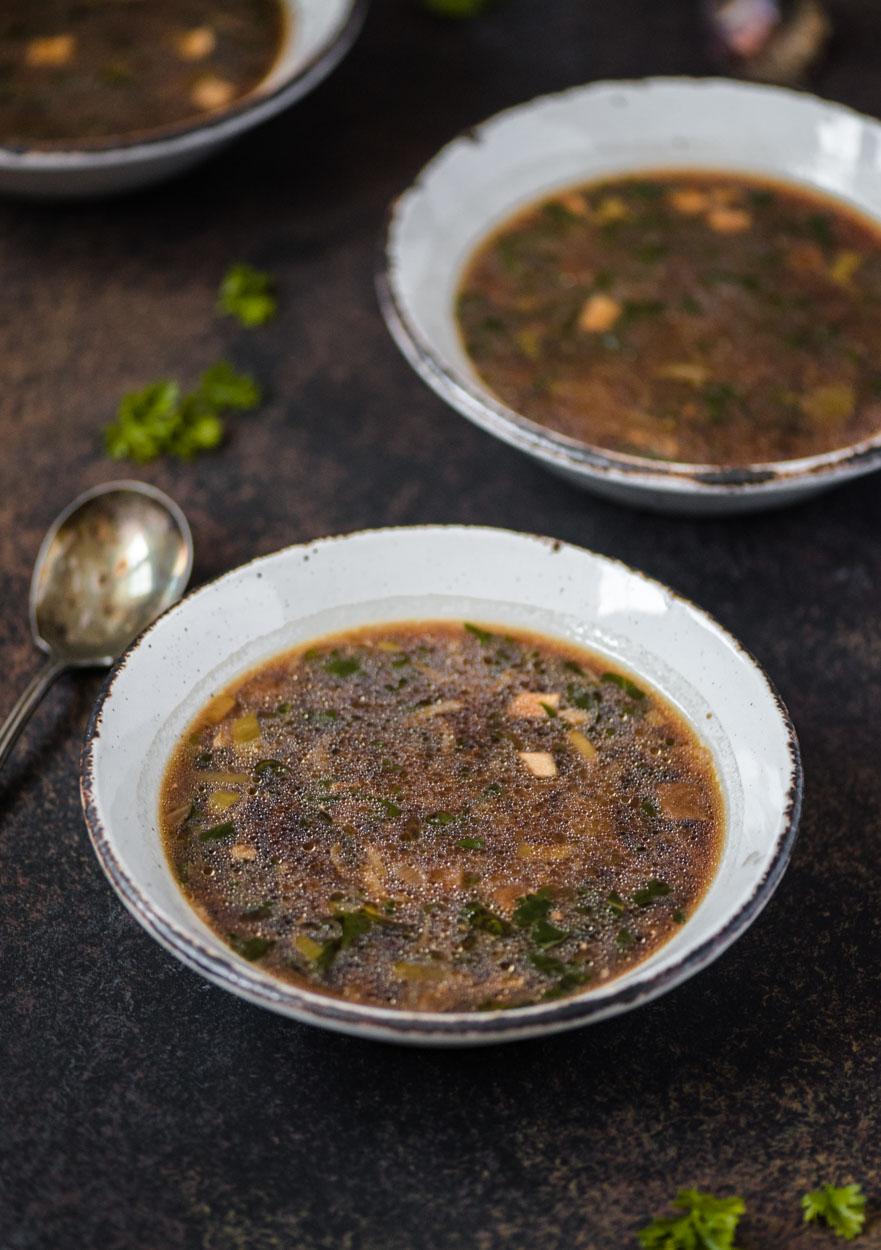 2 servings bowls of Mushroom Kale Miso Soup