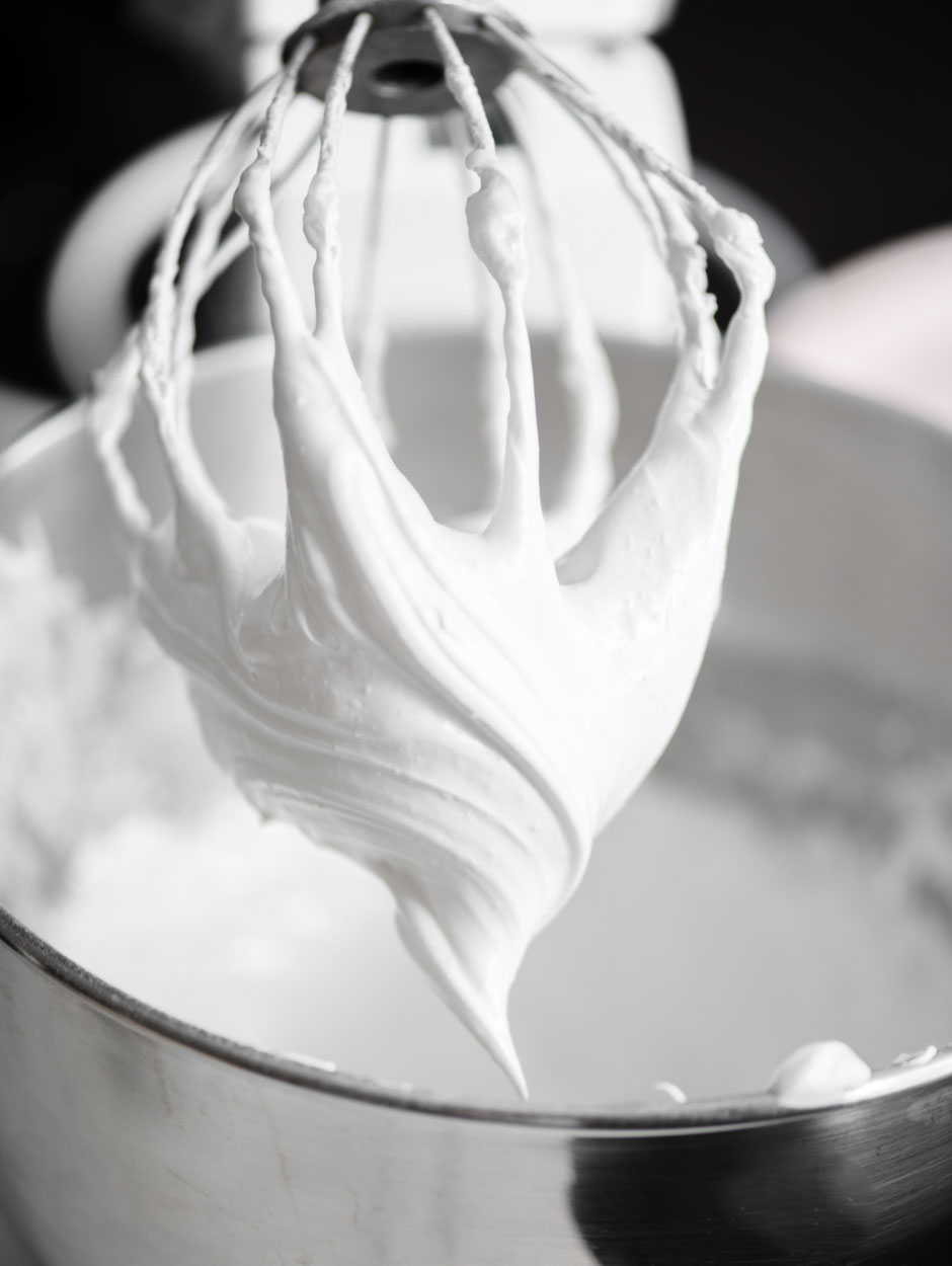 close up of whipped meringue