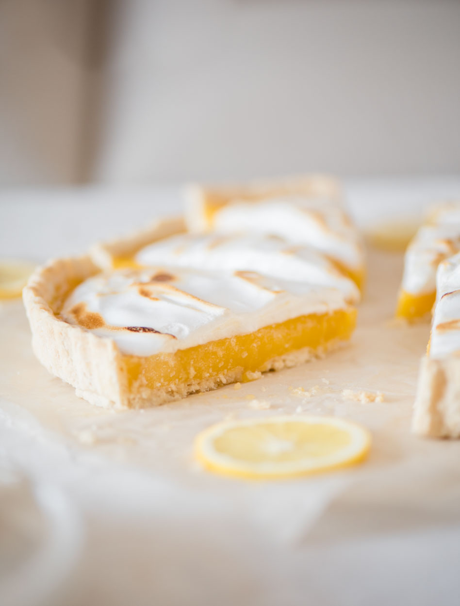 side view of lemon meringue pie
