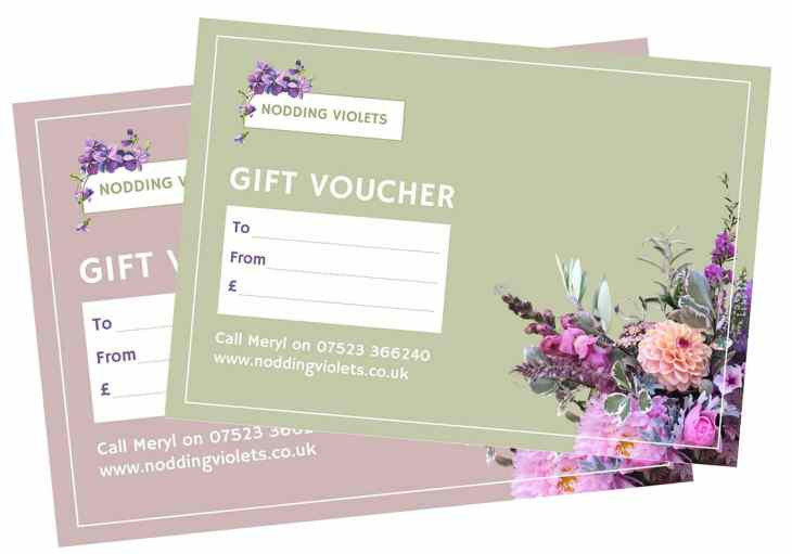 Nodding Violets redeemable gift voucher for flowers