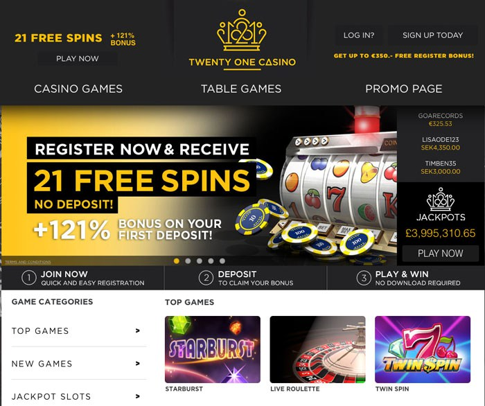 21 casino 221 free spins