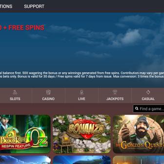 Sunset Casino Homepage