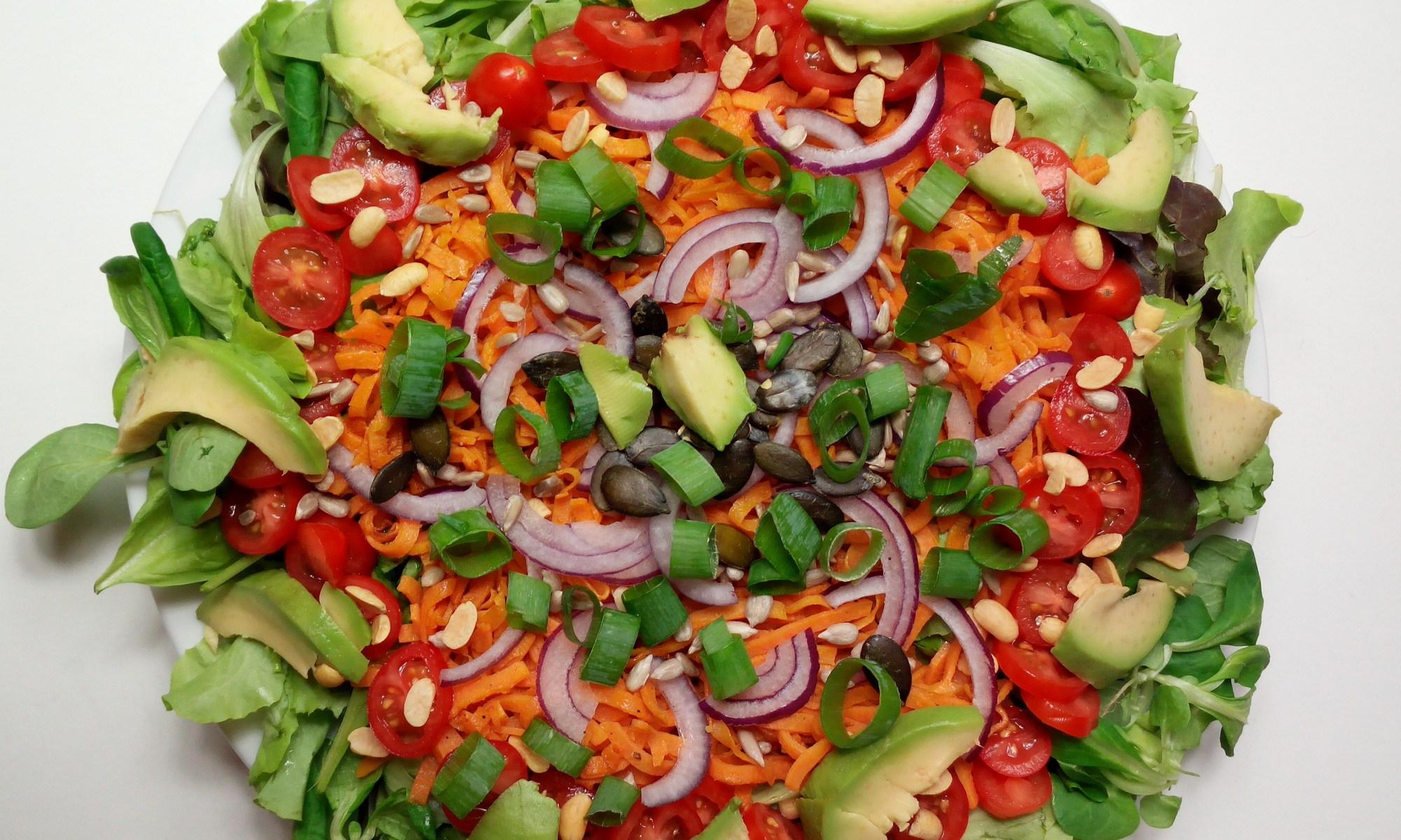 Großer Teller mit frischem grünem Salat, leicht angebratenen Süßkartoffel-Spagetti Avaocado-Scheiben, süßen Kirschtomaten, Soja- Sonnenblumen- und Kürbiskernen, Lauch-Ringe und eine vorzüglich schmeckende Agaven-Senf-Vinaigrette